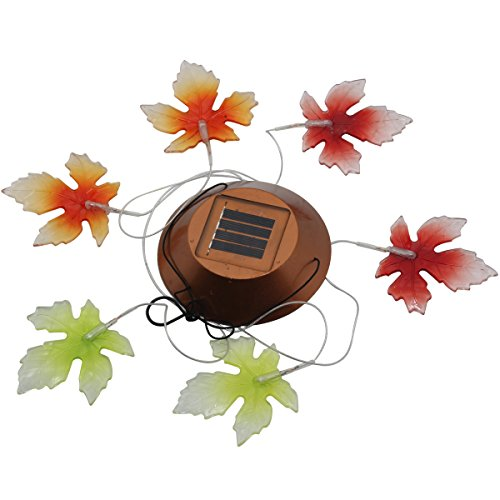 Solar Powered Wind Chimes Lights , Elstey Color Changing Waterproof Mobile LED Hanging Lamps Decoration Illumination Wind Spinner (Maple Leaf) Solar Fld Light
