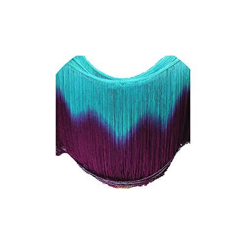 Tassels Latin Dip Dye Fringes 3 Yds Dance Tutu Trimming Rayon Sewing Lace Trimming Samba 25-30Cm,30Cm Long Fringe,Mintgreen Purple