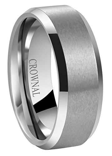 CROWNAL 6mm 8mm 10mm Tungsten Carbide Wedding Band Ring for Men Women in Comfort Fit Beveled Edges and Matte Finish Size 5 to 17 (8mm,8)