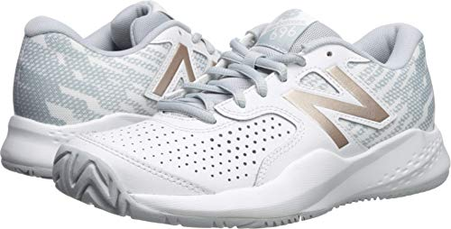 New Balance Women's 696v3 Hard Court Tennis Shoe, White/Rosegold, 10 D US