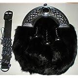 Black Rabbit Fur Skin 3 Tassel Leather Kilt SPORRAN & Belt Scottish Bovine Purse