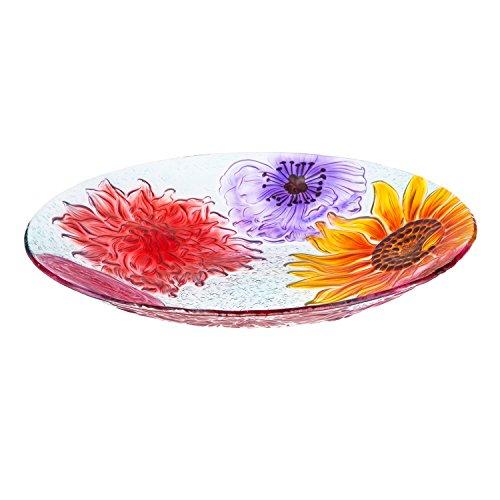 Evergreen Floral Glass Bird Bath Bowl