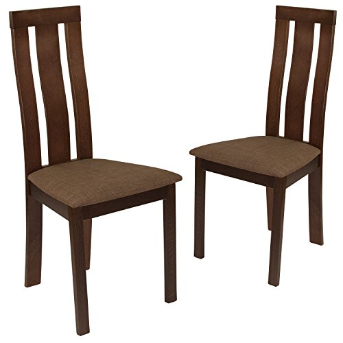Flash Furniture 2 Pk. Glenwood Espresso Finish Wood Dining Chair with Vertical Wide Slat Back and Golden Honey Brown Fabric Seat