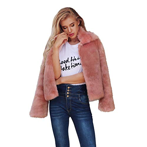 AOJIAN Women Jacket Long Sleeve Outwear Warm Fuzzy Open Front Ladies Solid Fashion Coat Pink]()