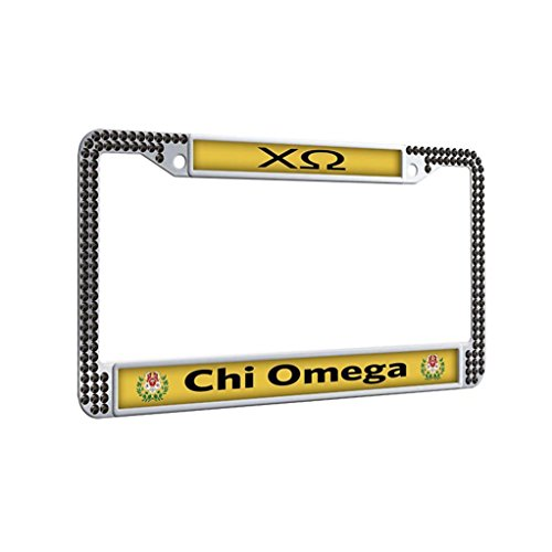 Chi Omega Vintage License Plate Frame Bling Glitter Personalized Car License Plate Covers With 2 Holes and Bolts Washer Caps,Black