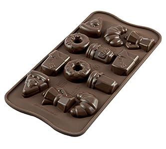 Silikomart 22.122.77.0065 SCG22 Moule pour Chocolat Thème Petit Déjeuner 8 Cavités Silicone Marron