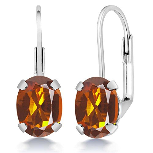 Gem Stone King 2.20 Ct Oval Orange Red Madeira Citrine 925 Sterling Silver Earrings - Madeira Citrine Ring