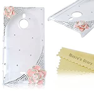 Mavis's Diary 3D Handmade Pink Camellia Rhinestone Bling Diamonds Hard Clear Cover Case with Soft Clean Cloth (Nokia 1520)