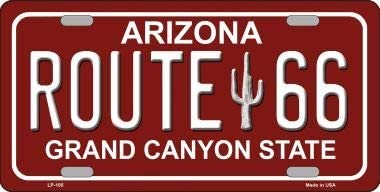Bargain World Route 66 Arizona Red Novelty Metal License Plate With Sticky Notes