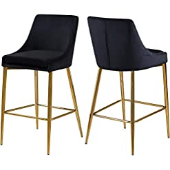 Kitchen Meridian Furniture Karina Collection Modern | Contemporary Velvet Upholstered Counter Stool with Polished Gold Metal… modern barstools