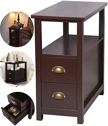 SSLine Narrow Chairside Table Sofa Side End Table with 2 Drawers and Open Shelf Vintage Rectangular Night Stand Bedside Corner Table Living Room Accent Furniture -Espresso