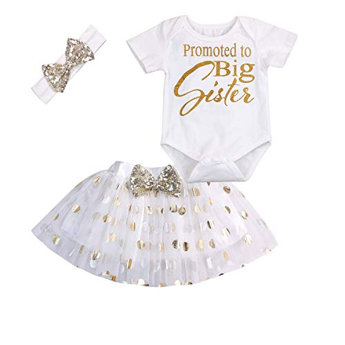 (GRNSHTS Newborn Baby Girls Promoted to Big Sister Print Bodysuit Romper+Bow Polka Dot Tutu Skirt with Headband (White, 6-12 Months))