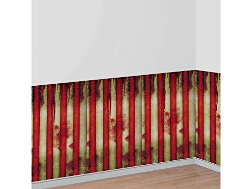 AMSCAN Creepy Carnival Room Roll, Halloween Props and Decor, Plastic, 4' H x 40' L -