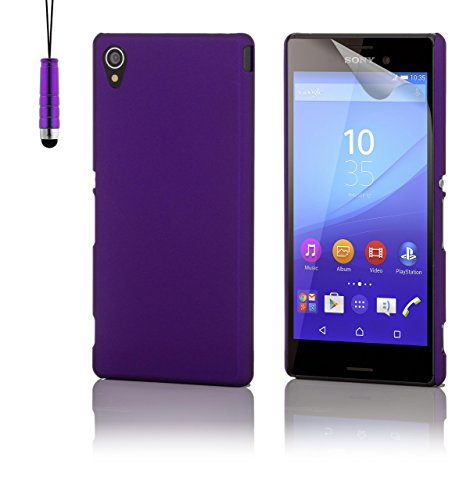 32nd Hard shell protective case cover for Sony Xperia M4 Aqua, including screen protector, cleaning cloth and touch stylus - Purple