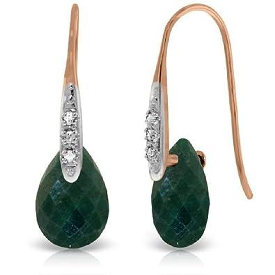 Amazon com: 14K Rose Gold Fish Hook Earrings with Diamonds