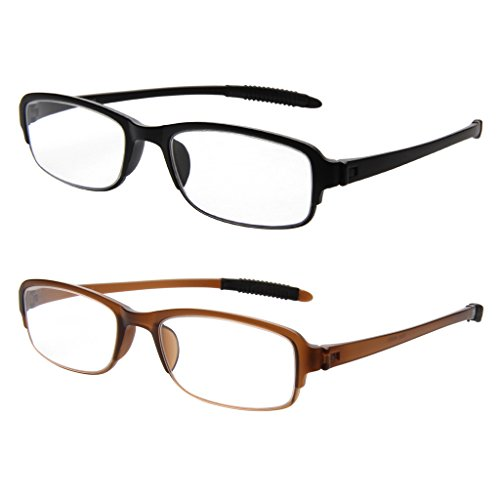 LIANSAN Womens Mens TR Reading Glasses 2 Pack Fashion Eye Strain Readers 1.5 2.0 1.0 2.5 3.0 3.5 4.0 L5300 (+2.00)