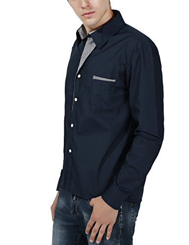 XI PENG Men's Casual Button Down Long Sleeve Striped-Trim Slim Fit Collared Dress Shirts (X-Large, Navy Blue) by XI PENG (Image #3)