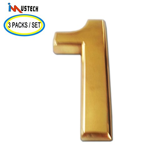 [3 Pcs of Number 1 iMustech 2 Inch Golden 3D Self-stick Number with Reflective Golden Plating(ABS), For Door Number, Mailbox Number, House Number, Modern Hotel Number, Car Sticker] (Large Lighted Address Plaque)