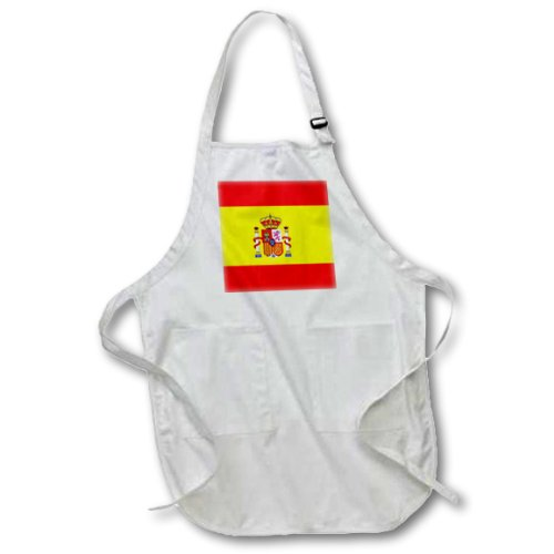 3dRose apr_28285_1 Spain Flag-Full Length Apron with Pockets, 22 by 30-Inch, White by 3dRose