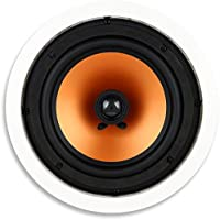 Micca M-8C 8 Inch 2-Way In-Ceiling In-Wall Speaker with Pivoting 1' Silk Dome Tweeter (Each, White)