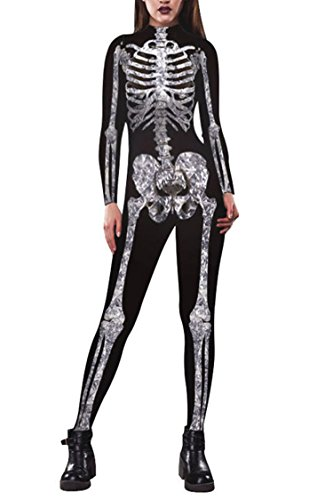 Funcok 2018 Halloween Costume Skeleton Costume One Piece Jumpsuit for Women