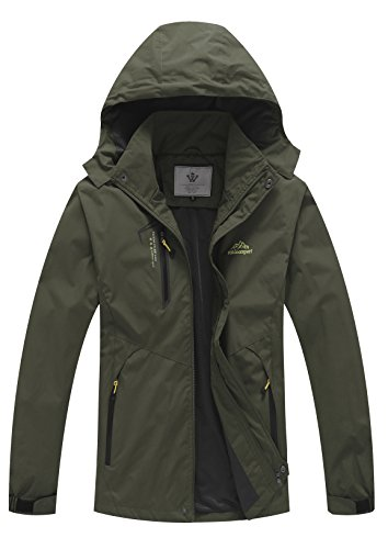 WenVen Mens Lightweight Waterproof Coat Outdoor Hooded Rain Jacket Softshell(Army Green,S)