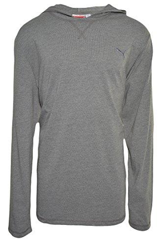 Puma Men's Sport Lifestyle Hooded Jersey Long Sleeve Tee Shirt- Steel Grey Heather (XXL)