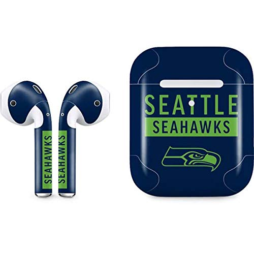 (Skinit Seattle Seahawks Blue Performance Series Apple AirPods 2 Skin - Officially Licensed NFL Audio Sticker - Thin, Case Decal Protective Wrap for Apple AirPods 2)