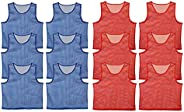 Get Out! Scrimmage Vest Pinnies 12pk in Red and Blue – Youth, Teens and Adult Sizes – Nylon Mesh Jerseys for A