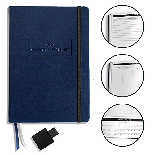 Christian Planner 2020 Planner, Bible Journal, and Gratitude Journal | 7x10 Lay Flat Hardcover Vegan Leather Journal with Thick No-Bleed Paper | Month, Week & Daily Organizer (Navy Blue)