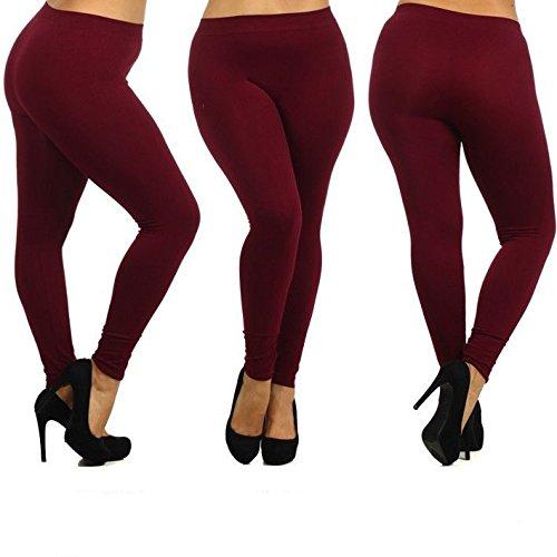 - 41tlIYDQ7yL - Leggings Depot Women's Plus Size Plain Basic Nylon Full Leggings 10+ Color XL XXL XXXL BL02