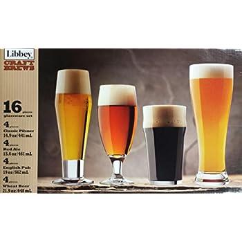 Libbey 16 piece craft brew beer set beer glasses for Craft brew beer tasting glasses