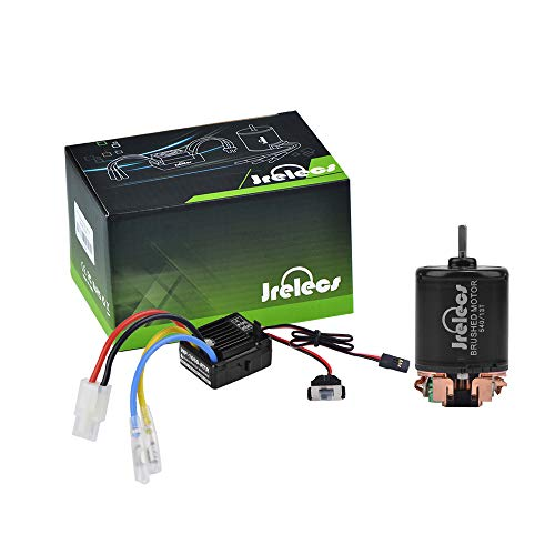 Jrelecs 540 13T 4 Poles Brushed Motor and WP-1060-RTR 60A Waterproof Brushed ESC Electronic Speed Controller with 5V/2A BEC for Axial RC4WD CROSS HPI MIST GMADE D90 D110 TF2 SCX10 ii PG4 MC8 WARAITH Y