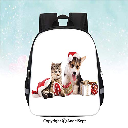 Nylon Fabric Backpack,Dog and Cat in Santa Hats with Surprise Boxes and Balls New Year Celebration Decorative,13