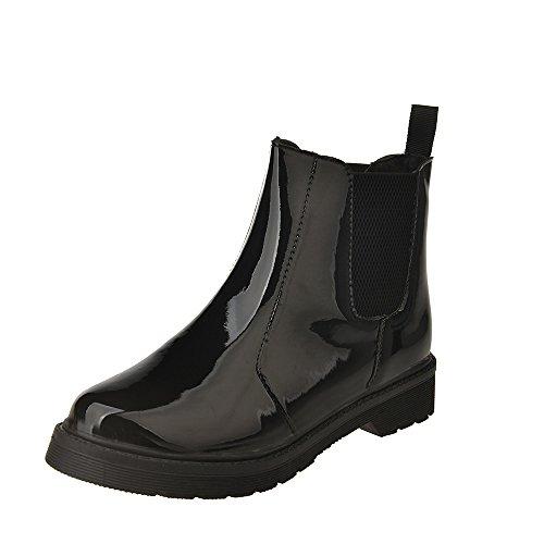 Kauneus  Womens Rain Boots Ladies Elastic Chelsea Rain Booties Shiny Waterproof Non Slip Ankle Rain Shoes Black