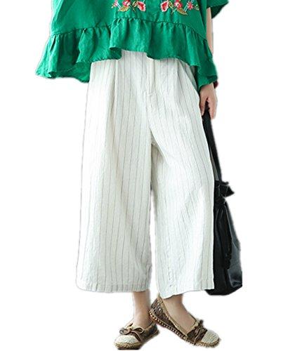 Womens Cropped Wide Leg Linen Pants (YESNO PD8 Women Casual Loose Cropped Pants 100% Linen Pinstriped Wide Leg Low Crotch Half Elastic Waist)