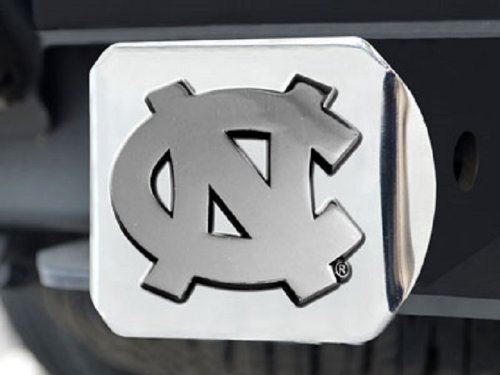 FANMATS North Carolina Tar Heels Heavy-Duty Chrome Metal Trailer Hitch Cover ()