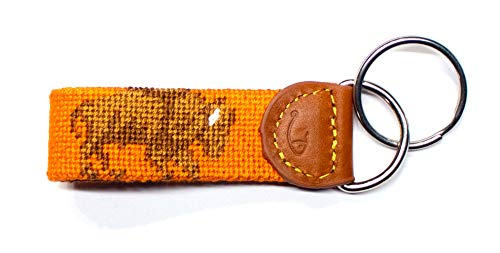 Hand-Stitched Needlepoint Key Fob or Key Chain by Huck Venture (Buffalo)