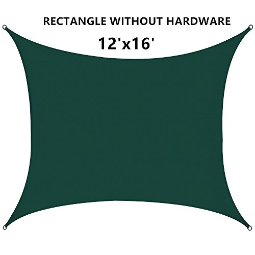 Outhere 12 X16 Sun Shade Sail Rectangle – Oversize Durable Outdoor Canopy UV Shelter for Patio Lawn – Forest Green