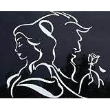 Beauty And The Beast Decal Vinyl Sticker|Cars Trucks Vans Walls Laptop| White |5.5 x 5 in|LLI186