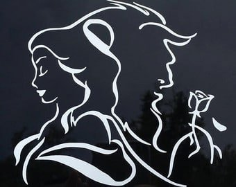 Beauty And The Beast Decal Vinyl Sticker|Cars Trucks Vans Walls Laptop| White |5.5 x 5 (Beauty Sticker)