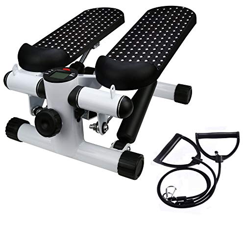 Office Stepper, Household Hydraulic Mute Stepper Aerobic Twister with Adjustable Resistance Bands – Multi-Function Pedal Indoor Cardio Training Fitness Exercise Machine Equipment Treadmill
