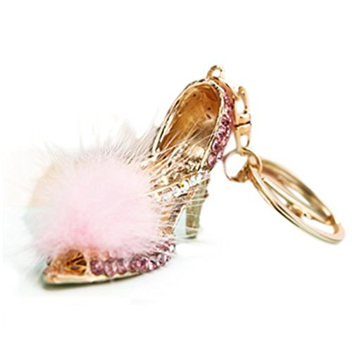 SODIAL(R) High heels Key chain Keyring bag chain Rhinestone Charm Pendant Keyfob Keychain (Tiffany Tiffany Style Key Ring)