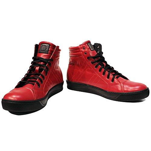 Rouge Décontractées Lacer Pour Cuir Des Italiennes Handmade Redhot Vachette Sneakers De Hommes Chaussures Modello Souple Hq10zI