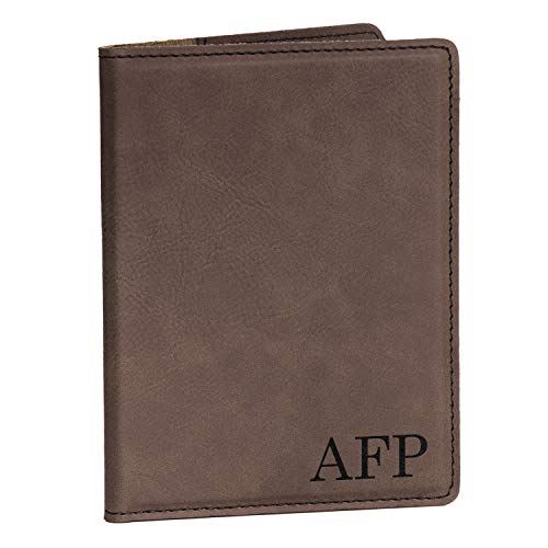 Monogrammed Passport Cover - Dark Brown, Passport Cover with Initials, Passport Holder Passport Case (Monogrammed Passport Cover)