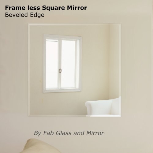 Fab Glass and Mirror Square Beveled Polished Frameless Wall Hooks, 36