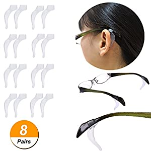 YR Anti-Slip Soft Silicone Ear Grip Hook Retainer Sleeve For Eyeglasses Sunglasses, 8 Pairs, Clear