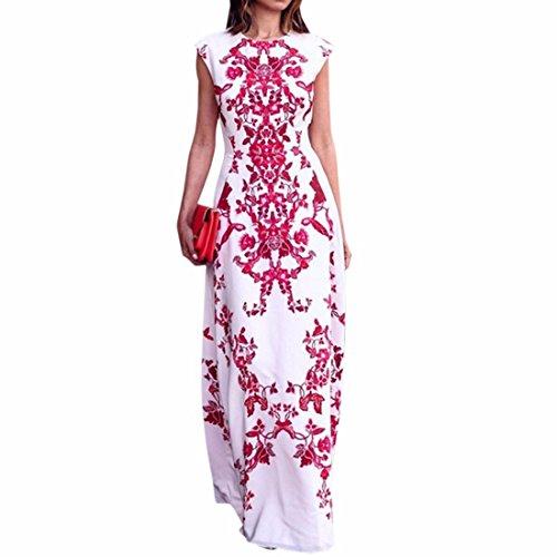Col rond manches taille haute robes Slim femmes Fleur de Coton Robe imprimee