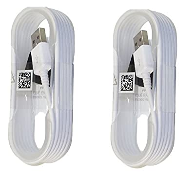 Two (2) New Samsung OEM 5-Feet Micro USB Data Sync Charging Cables for Galaxy S6/S6 Edge/S6 Edge+/S7/S7 Edge/Note 4/5/Edge - Non-Retail Packaging - White from Samsung