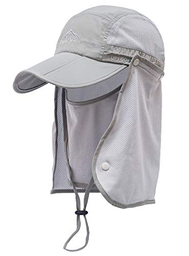 ELLEWIN Outdoor Fishing Flap Hat UPF50 Sun Cap Removable Mesh Face Neck Cover, D-light Grey /Mesh Neck Cover, M-L-XL